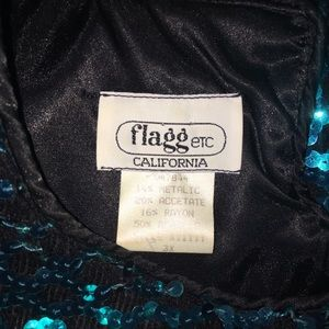Vintage Sweaters - Vintage Teal Sequined Sweater, PLUS SIZE VINTAGE!